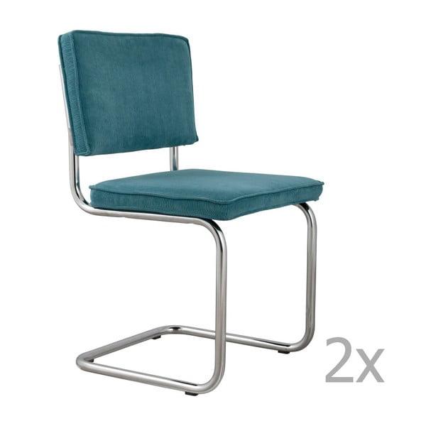 Set 2 scaune Zuiver Ridge Rib, albastru