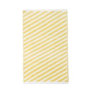 Žlutý bavlněný ručně tkaný koberec Pipsa Diagonal, 60x90 cm