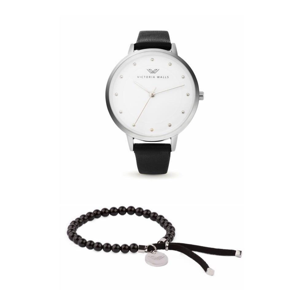 Set dámských hodinek s černým koženým řemínkem a náramku Victoria Walls