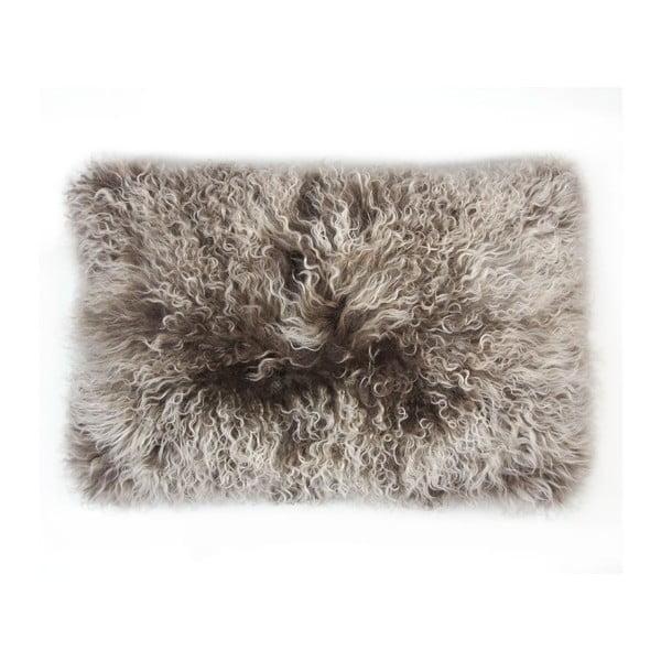 Kožešinový polštář Tibetian Grey, 35x55 cm