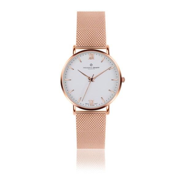Unisex hodinky s remienkom z antikoro ocele v ružovozlatej farbe Frederic Graff Rose Dent
