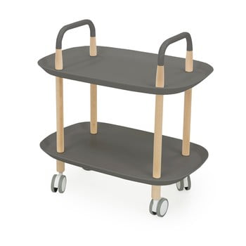 Cărucior cu roți pentru servire Tenzo Wagon Beech, gri de la Tenzo