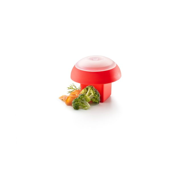 Červená hranatá silikonová formička na vaření vajec v mikrovlnce Lékué Ovo, ⌀ 10 cm