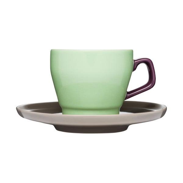 Ceașcă cu farfuriuță Sagaform Pop, verde/maro