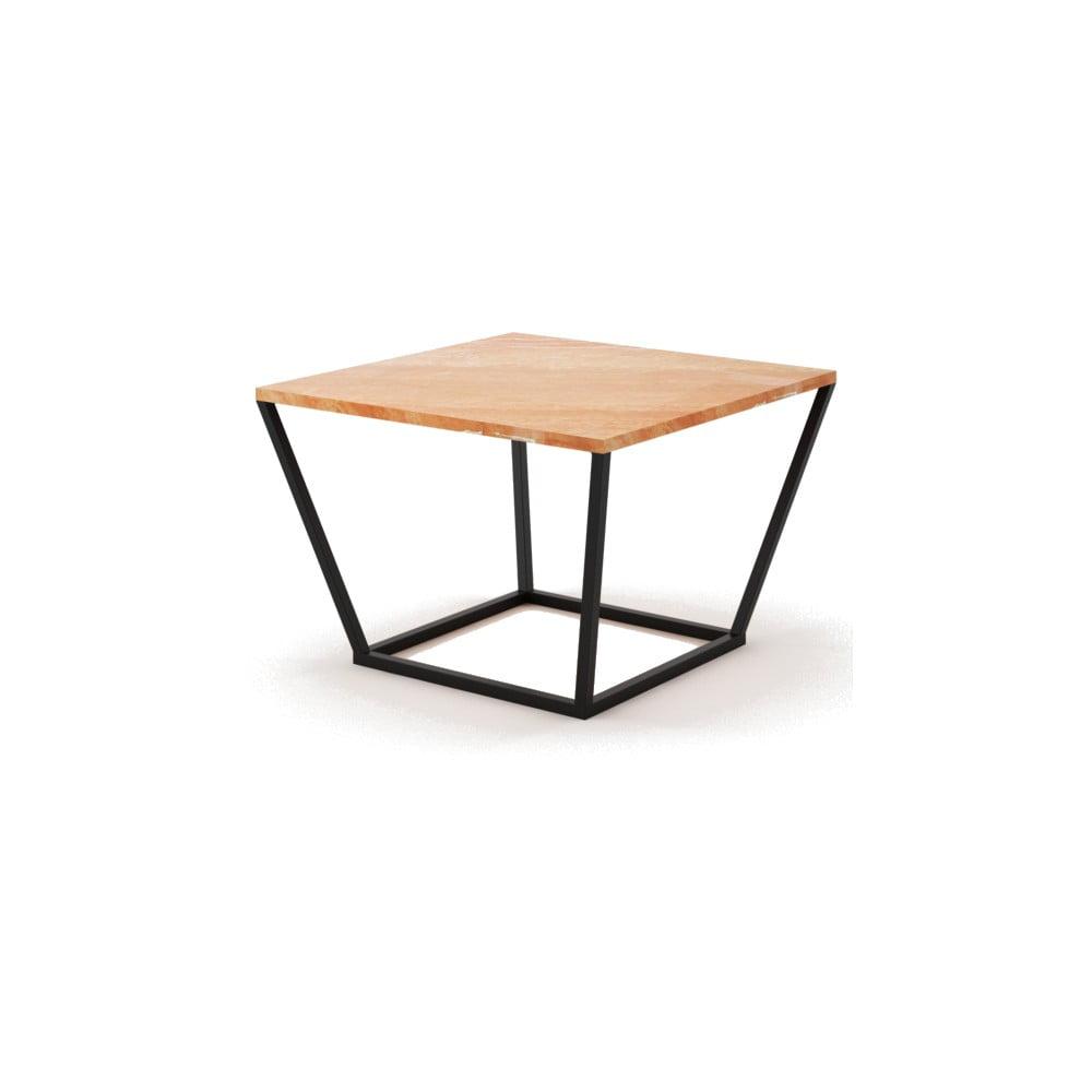 Malý béžový konferenční stůl z mramoru s černým podnožím Absynth Noi Spain