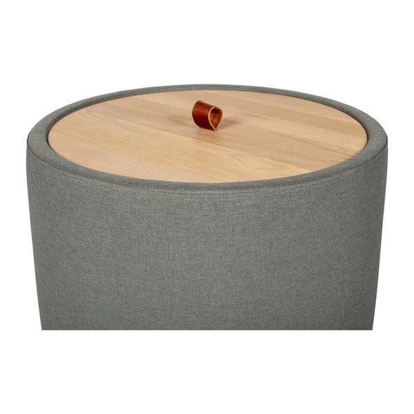 Odkládací stolek v zelenošedé barvě se snímatelnou deskou z dubového dřeva Askala Ibisco, ⌀56cm