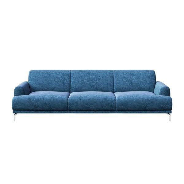 Canapea cu 3 locuri și picioare metalice MESONICA Puzo, albastru