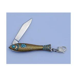 Český nožík rybička Azurová modř s krystaly, zlatá