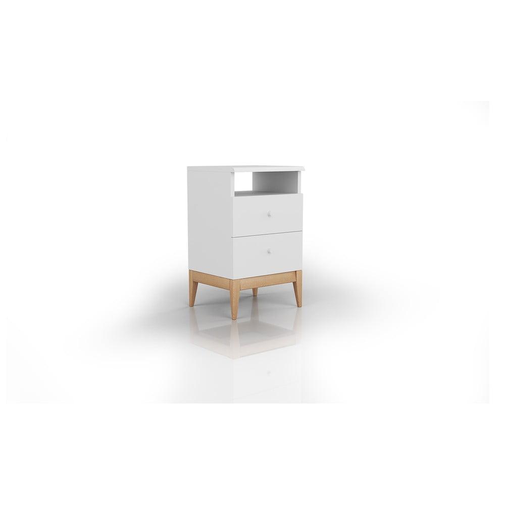 Bílý noční stolek z borovicového dřeva se 2 zásuvkami Skandica Livia, výška 64cm