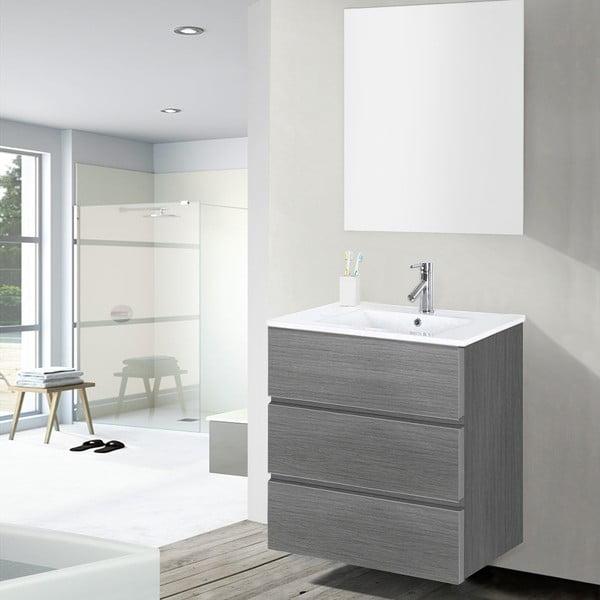 Koupelnová skříňka s umyvadlem a zrcadlem Nayade, odstín šedé, 60 cm