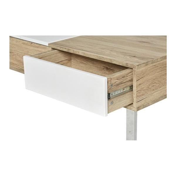 Bílo-hnědý konferenční stolek s vysouvací deskou Marckeric Niza