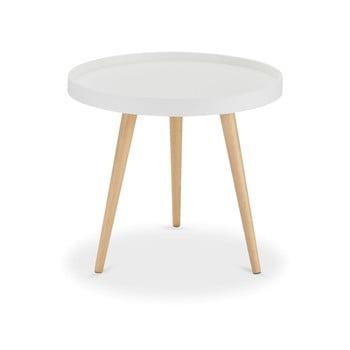 Măsuță de cafea cu picioare din lemn de fag Furnhouse Opus, Ø 50 cm, alb