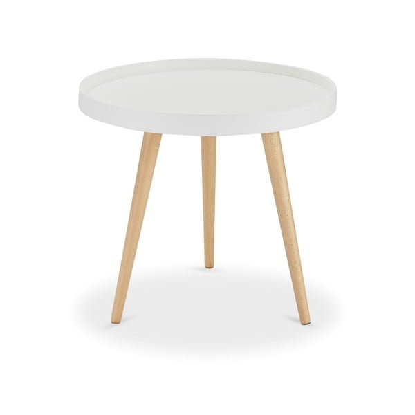 Bílý konferenční stolek s nohami z bukového dřeva Furnhouse Opus, Ø50cm