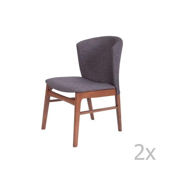 Zestaw 2 ciemnoszarych krzeseł do jadalni z ciemnobrązową konstrukcją z drewna kauczukowca sømcasa Mara