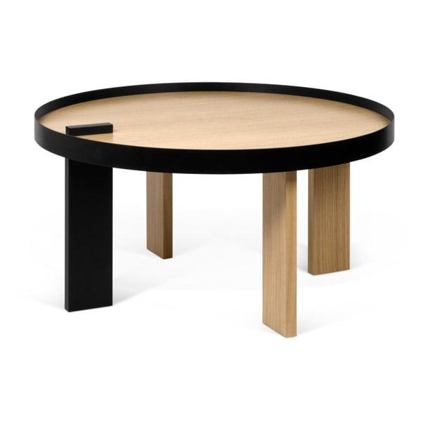 Konferenčný stolík v dubovom dekore s čiernymi detailmi TemaHome Bruno
