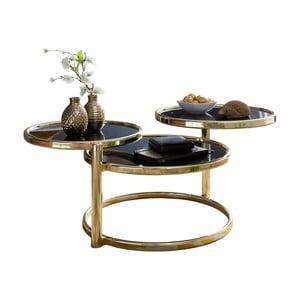 Černý příruční stolek s nohami ve zlaté barvě Skyport Susi, ⌀ 58 cm