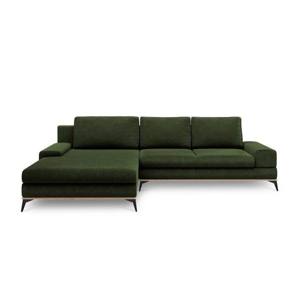Lahvově zelená rozkládací rohová pohovka Windsor & Co Sofas Planet, levýroh