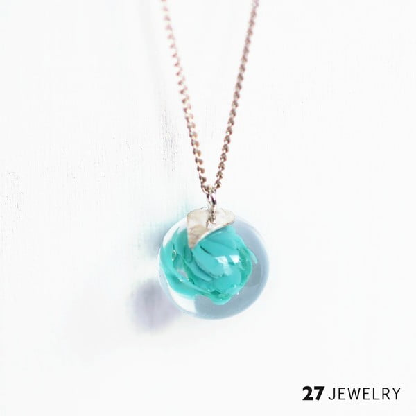 Tyrkysový náhrdelník ze skla Enamor