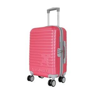 Růžovo-šedé kabinové zavazadlo na kolečkách Travel World