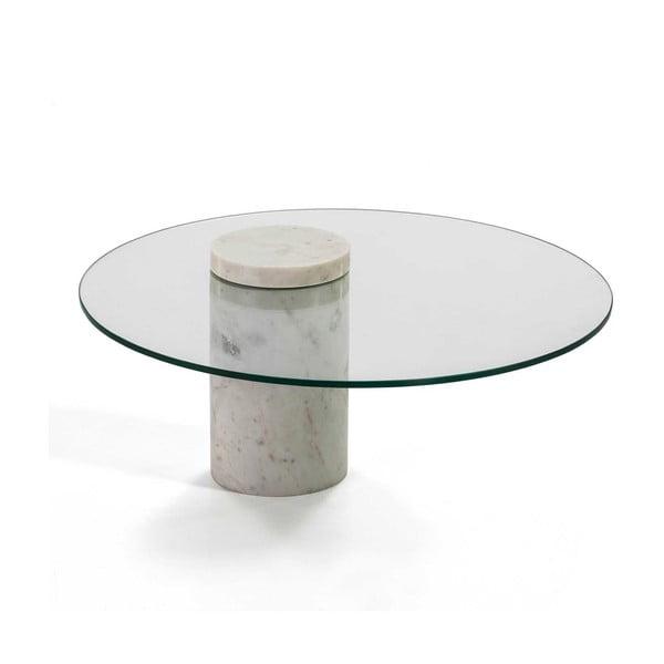 Bílý mramorový konferenční stolek se skleněnou deskou Thai Natura, ∅76cm