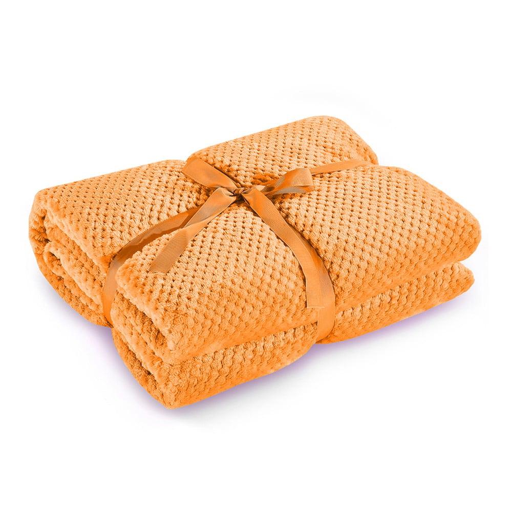 Oranžová deka z mikrovlákna DecoKing Henry, 220 x 240 cm
