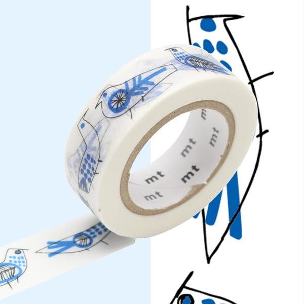 Bandă washi MT Masking Tape Retrobirds, alb - albastru