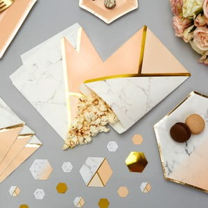 Sada 25 papírových sáčků Neviti Gold Colour Block Marble