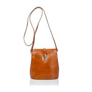 Koňakově hnědá kožená kabelka Massimo Castelli Silverio