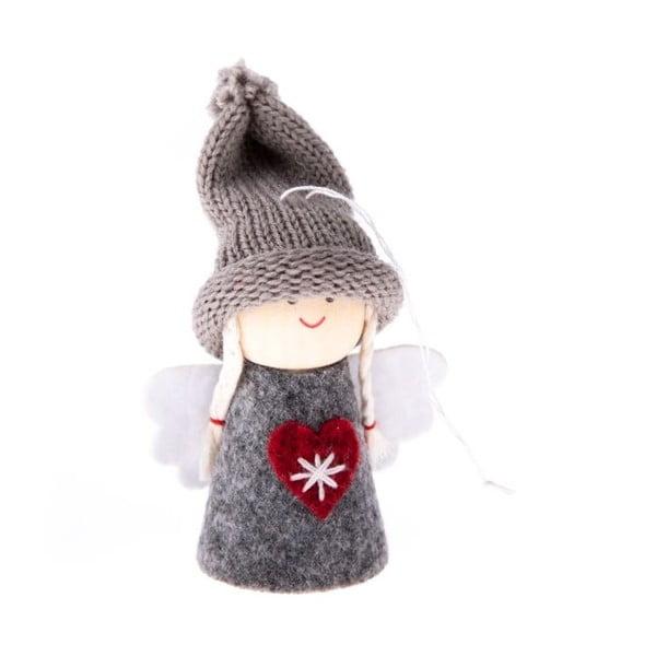 Šedá textilní závěsná ozdoba ve tvaru anděla Dakls, délka 9 cm