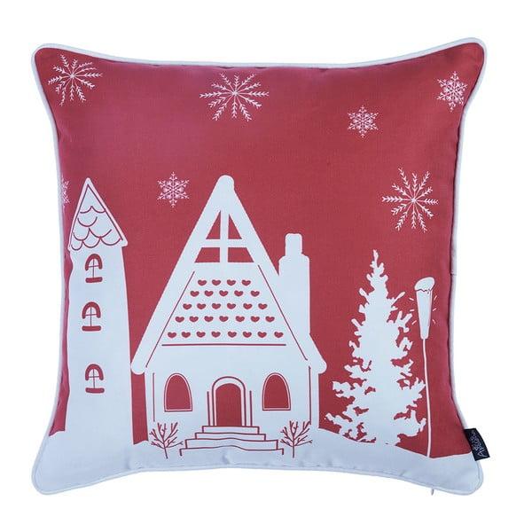 Červená obliečka na vankúš s vianočným motívom Apolena Honey Cottage, 45×45 cm