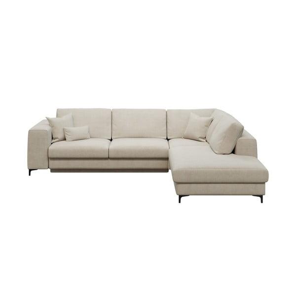 Rothe világosbézs ötszemélyes kinyitható kanapé, jobb oldali - devichy