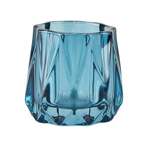Suport din sticlă pentru lumânare pastilă KJ Collection Diam, ⌀ 6,5 cm, albastru
