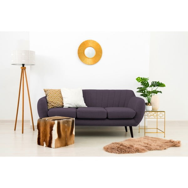 Canapea 3 locuri cu picioare negre Vivonia Kennet, violet