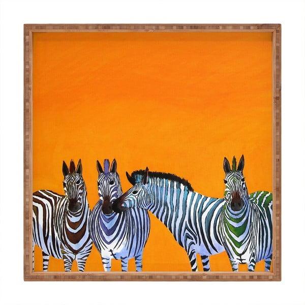 Tavă decorativă din lemn Zebras, 40x40cm