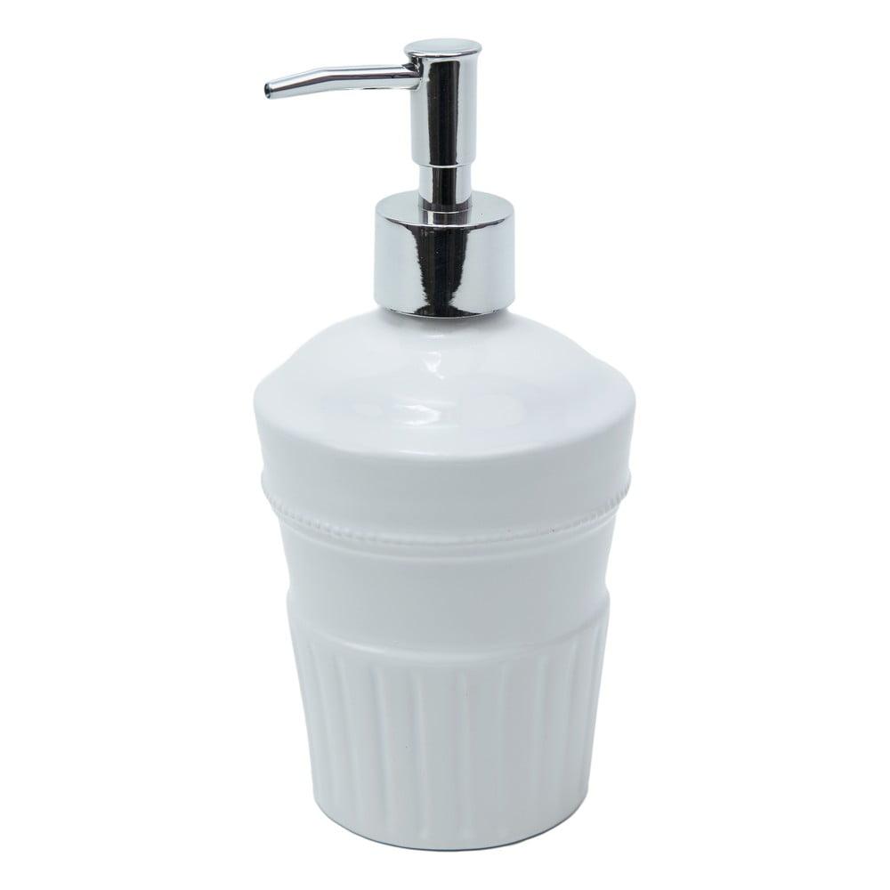 Bílá keramická nádobka na mýdlo s pumpičkou Ego Dekor