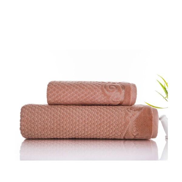 Sada 2 ručníků Acustic Salmon, 50x90 cm a 70x140 cm