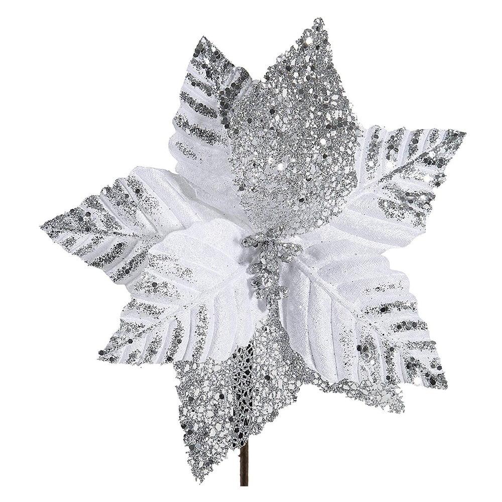 Vánoční plastová dekorace ve tvaru květu v bílé a stříbrné barvě DecoKing Astra