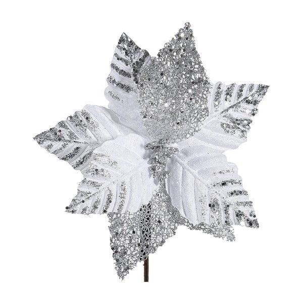 Decorațiune din plastic în formă de floare pentru Crăciun DecoKing Astra, alb - argintiu