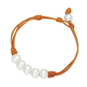 Dámský náramek oranžový z pravé kůže s perlami Lucie& Jade Lili