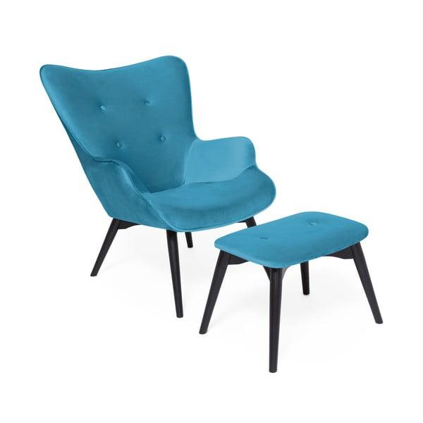 Ciemnoturkusowy fotel z podnóżkiem i nogami w ciemnej barwie Vivonita Cora Velvet