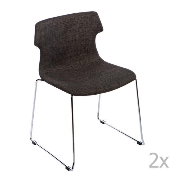 Sada 2 hnědých čalouněných židlí D2 Techno