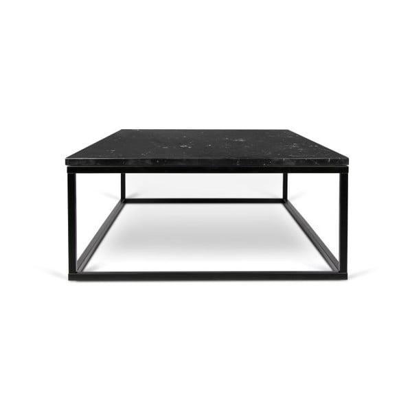 Černý konferenční stolek s deskou v dekoru mramoru TemaHome Prairie