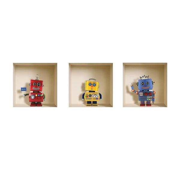 3D samolepky na zeď Robots