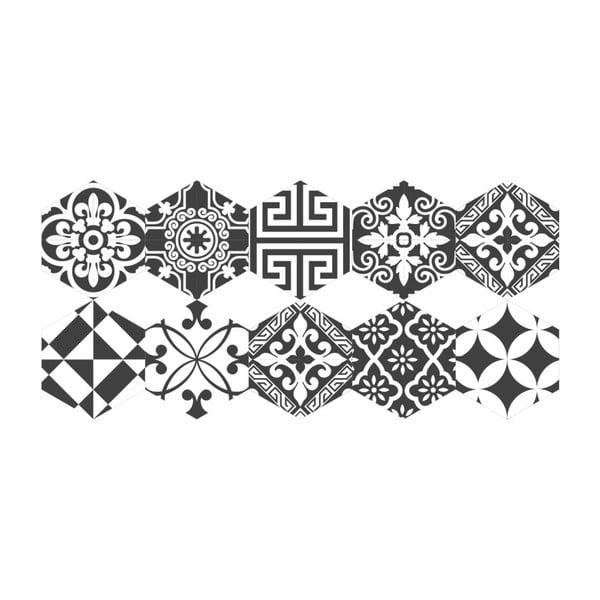 Set 10 autocolante pentru podea Ambiance Hexagons Ginola, 20 x 18 cm