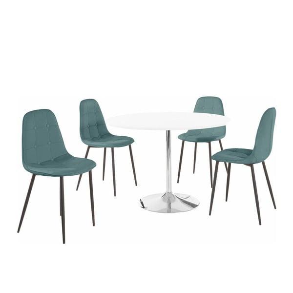 Sada kulatého jídelního stolu a 4 tyrkysových židlí Støraa Terri
