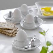 Set čtyř kalíšků na vajíčka se lžičkou a slánkou Steel Function
