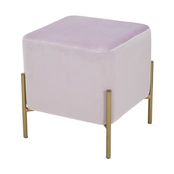 Puf cu picioare metalice aurii Mauro Ferretti Rotondo, roz pudră de la Mauro Ferretti