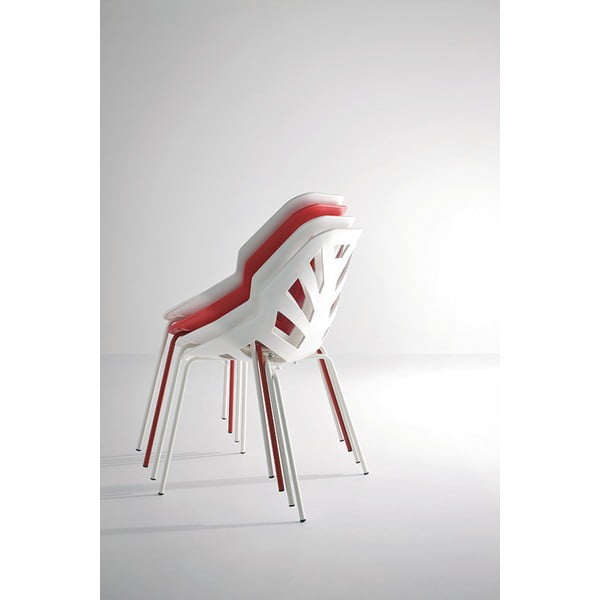 Set 2 bílých židlí Ninja, lakované bílé nohy