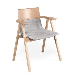 Křeslo s konstrukcí z dubového dřeva a šedým sedákem Wewood - Portuguese Joinery Pensil