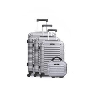 Sada 3 cestovních kufrů na kolečkách atoaletního kufříku ve stříbrné barvě Bluestar Vanity